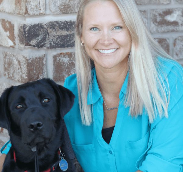 Dr. Lindsay Culver with Future Leader Dog, Black Labrador Retriever, Daisy
